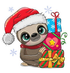 Cartoon sloth with gifts in a santa hat vector