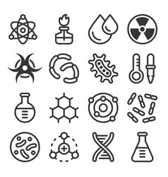 chemistry science details outline icon set vector image