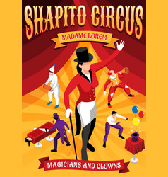 Circus professions isometric concept banner vector