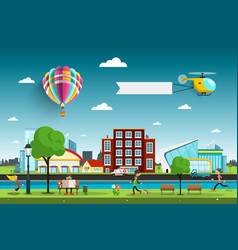 city with people and hot air balloon vector image