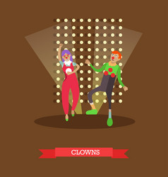 clowns in circus vector image