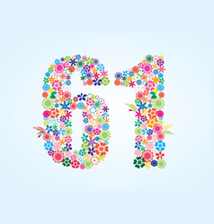 Colorful floral 61 number design isolated on vector