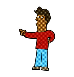 Comic cartoon curious man pointing vector