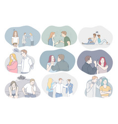 Conflicts in couple misunderstanding problems vector