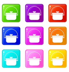 Cooking cauldron set 9 vector