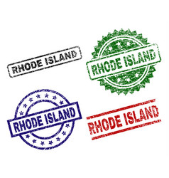 damaged textured rhode island seal stamps vector image
