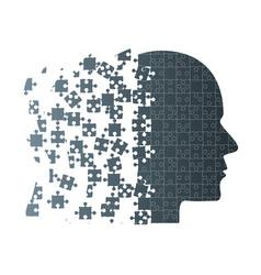 Dark puzzle piece silhouette head - puzzle vector