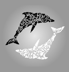 Dolphin floral ornament decoration vector
