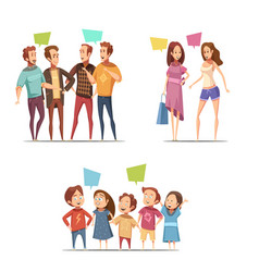 Family retro cartoon set vector