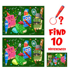 Find differences game worksheet with funny books vector