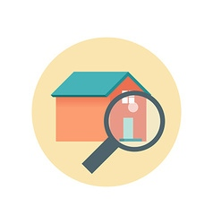 Flat design realty icon home with magnifying glass vector