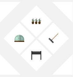 Flat icon farm set of harrow barbecue hothouse vector