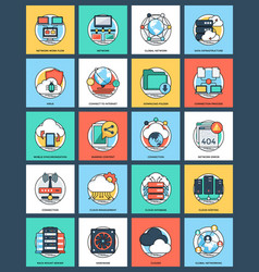 Flat icon internet and networking vector