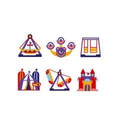 flat set amusement park elements vector image