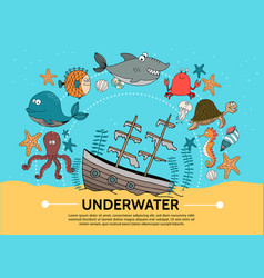 flat underwater world concept vector image