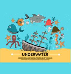 flat underwater world concept vector image