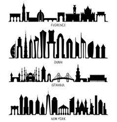 Florence dubai new york and istanbul silhouettes vector