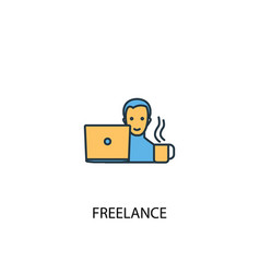 freelance concept 2 colored icon simple blue vector image