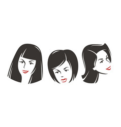 girls portraits design elements vector image