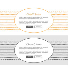 gold and silver chains samples vector image