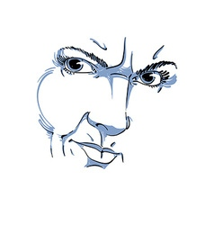 Hand-drawn of woman face black and white mask with vector image