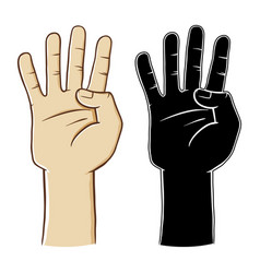 hand gesture sign number four vector image