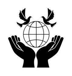 hands human with dove of peace and planet vector image