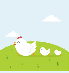 happy chicken family in field vector image