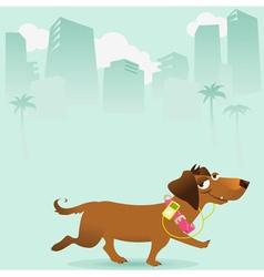 Happy dog walking in city vector