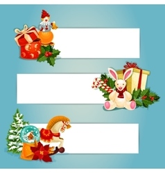 Holiday toys banners set design vector