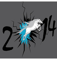 Horse 2014 year chinese symbol in hole vector image