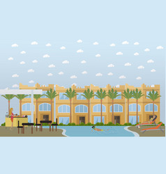 hotel in egypt concept flat style design vector image