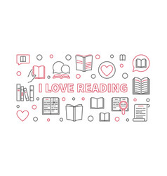 i love reading outline concept horizontal vector image