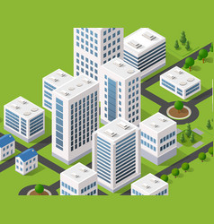 Isometric 3d metropolis city quarter with streets vector