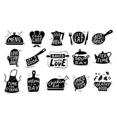 kitchen food lettering gourmet cooking foods vector image
