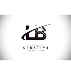 Lb l b letter logo design with swoosh and black vector