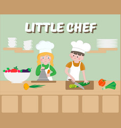 Little chef poster children cook vector