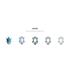 Louse icon in different style two colored and vector