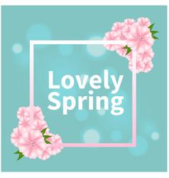 Lovely spring pink flower square blue background v vector