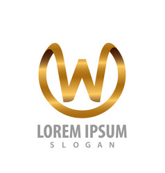 luxury circle initial letter w logo concept vector image
