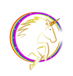 magical rainbow unicorn icon vector image