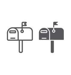 Mailbox line and glyph icon post and address vector