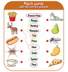 Match words with correct pictures game vector