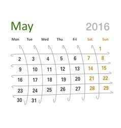May 2016 calendar funny grid vector
