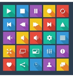 Media player flat icons with long shadow vector image