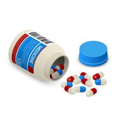 medicine bottle with pills isometric vector image