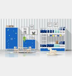 modern blue kids bedroom with bunk bed background vector image