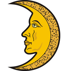 moon with face heraldic sybol and tattoo vector image