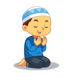 Moslem boy praying vector