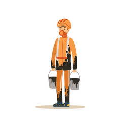 oilman in orange stained uniform standing with vector image vector image